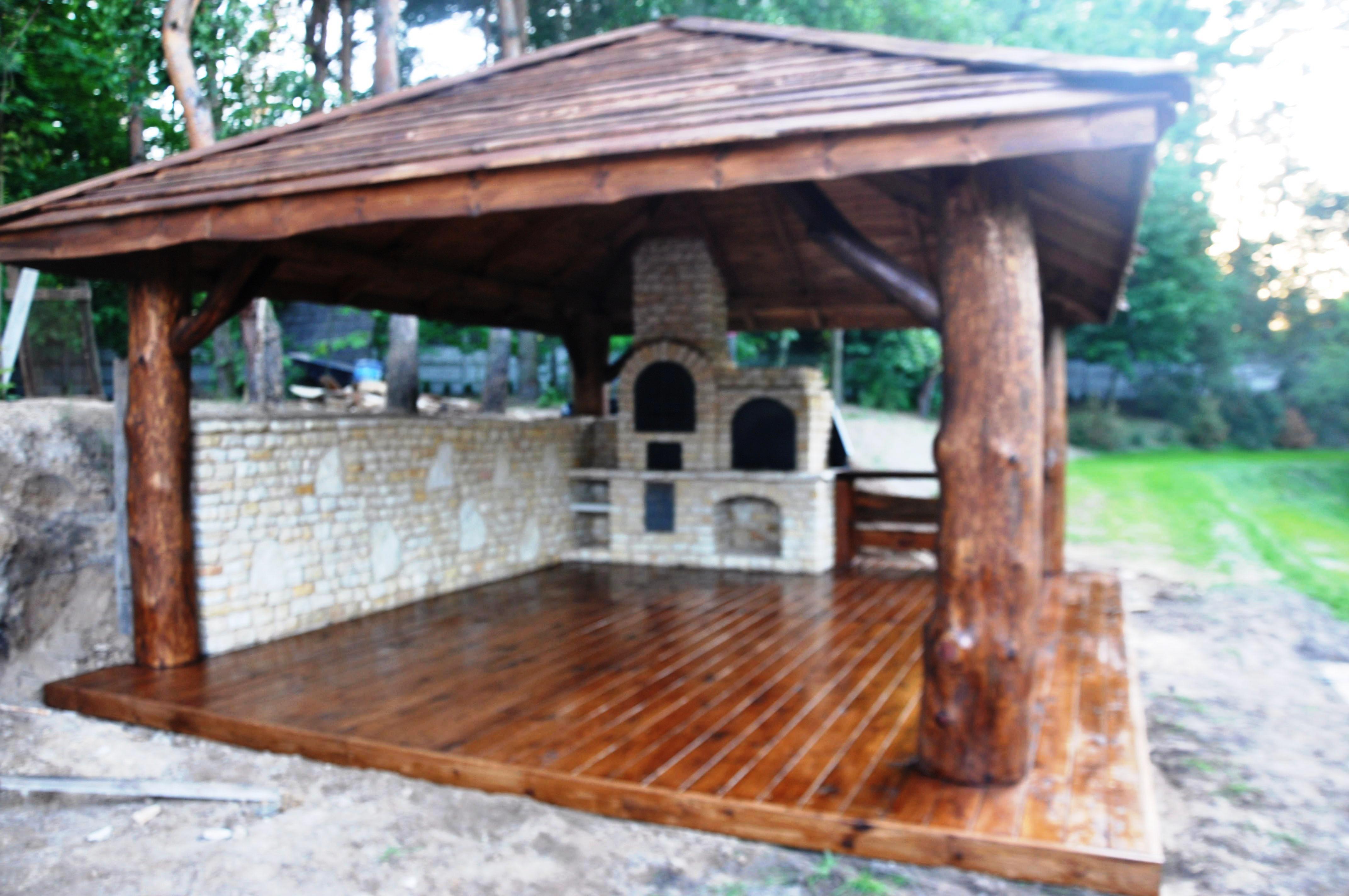 altana pokrycie drewniane-grill , wedzarnia