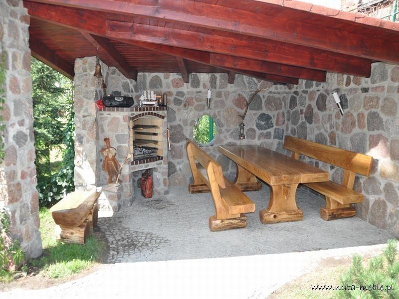 meble ogrodowe drewniane - kantowane