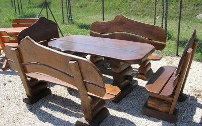 meble ogrodowe drewniane, meble z bala