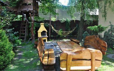 meble ogrodowe drewniane z bala