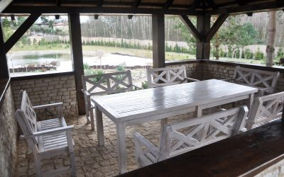 meble ogrodowe drewniane - krzyż pruski