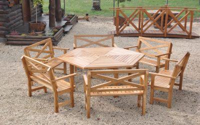 meble ogrodowe drewniane- krzyże pruskie