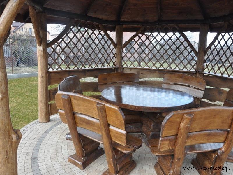 meble ogrodowe drewniane - stół okrągły